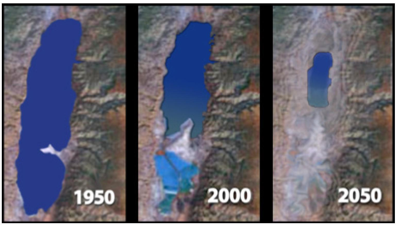 The accelerated rate of receding water levels in the Dead Sea over the last few decades.  - The Dying of the Dead Sea, The ancient salt sea is the site of a looming environmental catastrophe, By Joshua Hammer | SMITHSONIAN MAGAZINE | OCTOBER 2005